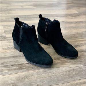 Black Suede Blondo Block Heel Ankle Boot Booties